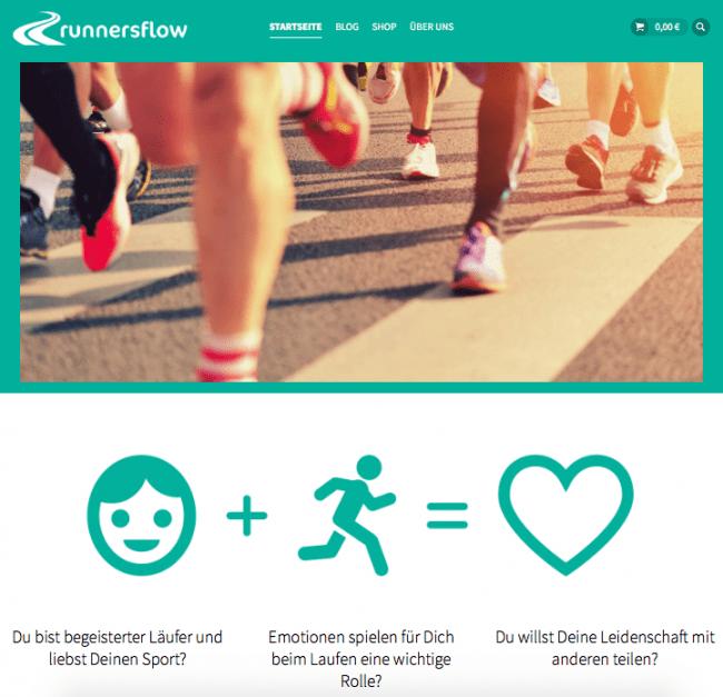 Da ist sie: die Startseite von runnersflow