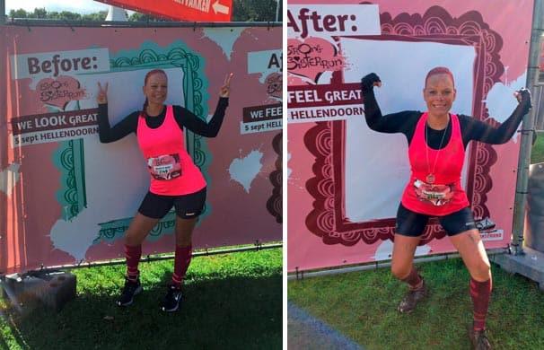Vorher Nachher von Lola beim Strong Sister Run in Hellendoorn