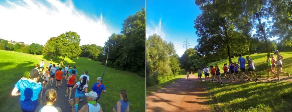 Eine Laufgruppe im Park bei schönem Wetter