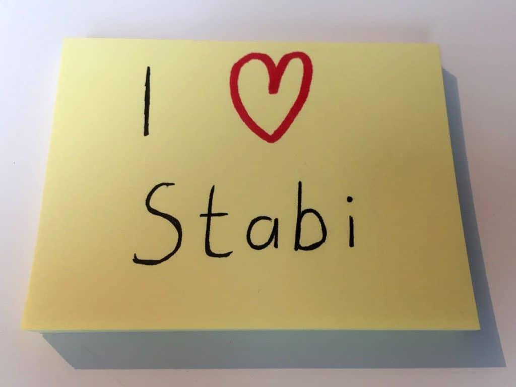 Zettel mit der Aufschrift I love Stabi