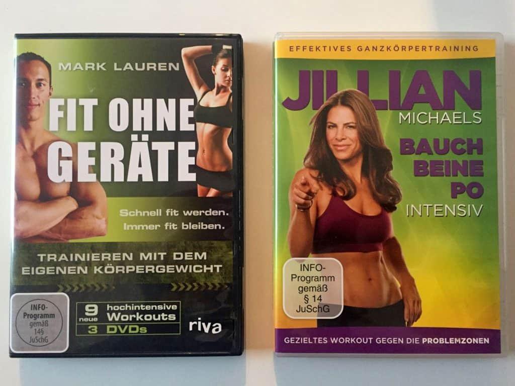 Cover von 2 DVDs: Fit ohne Geräte von Mark Lauren und Bauch, Beine, Po intensiv von Jillian Michaels