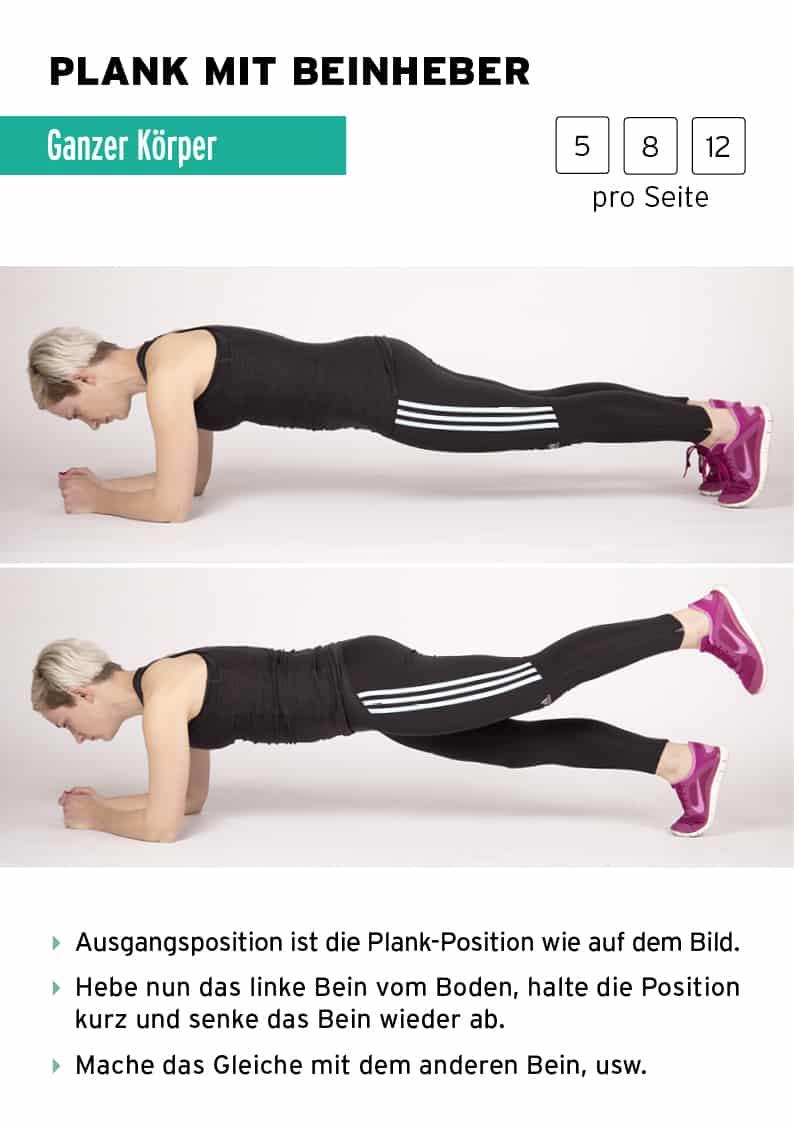 plank mit beinheber