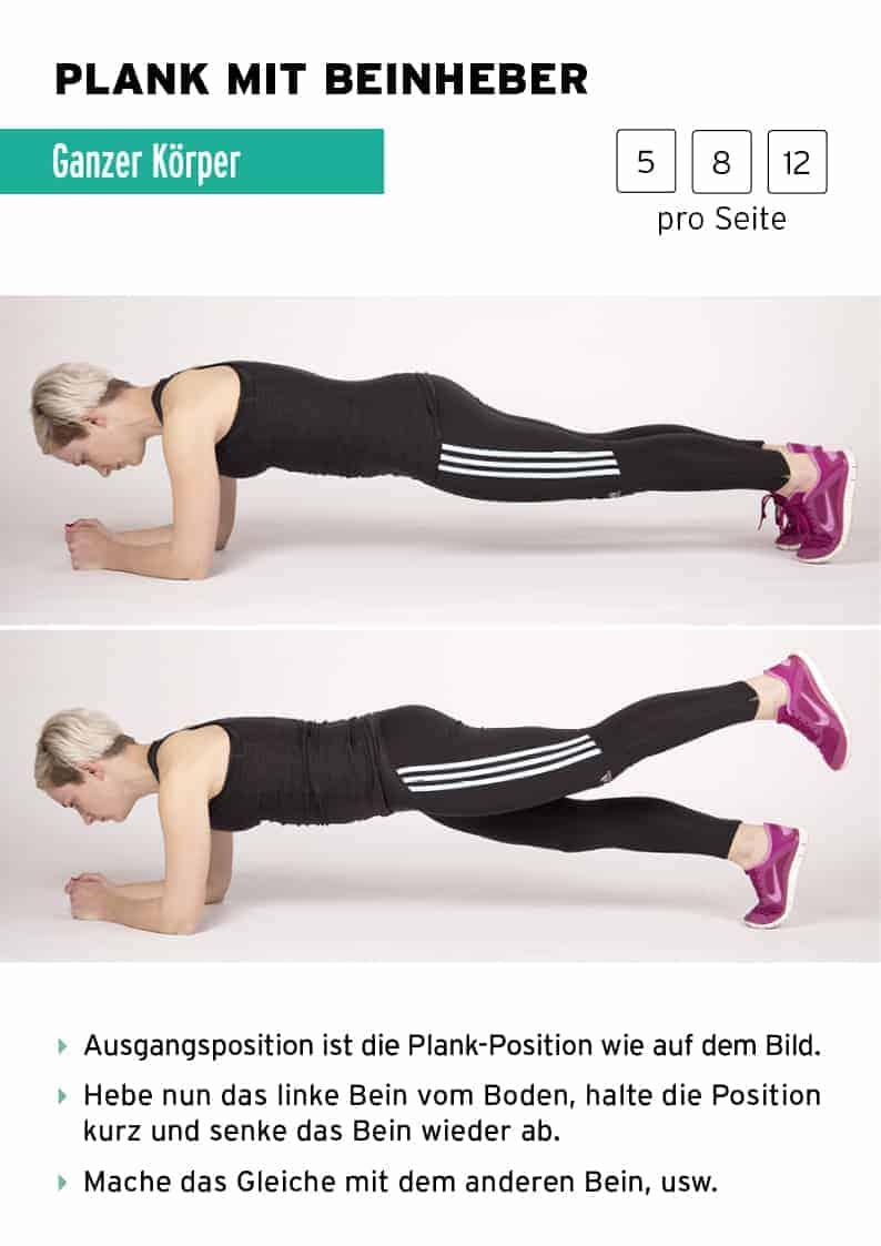 Ausführung plank mit Beinheber