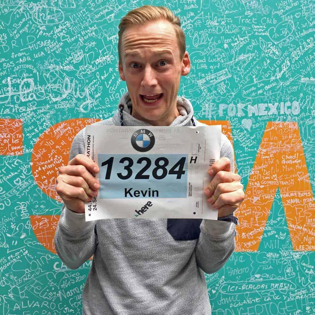 Kevin mit der Startnummer vom Berlin Marathon