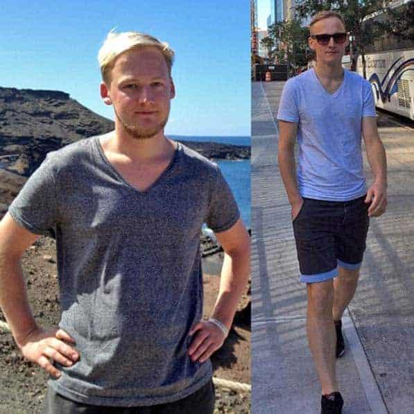 Vorher-Nachher Bild von Kevin mit 12 Kg Gewichtsunterschied