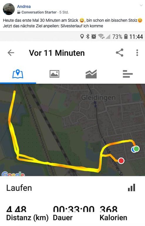 Screenshot vom Lauf bei der Laufchallenge