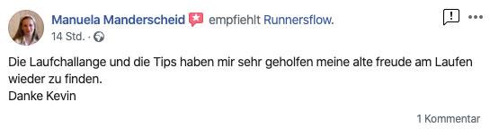 Bewertung bei Facebook von Manuela
