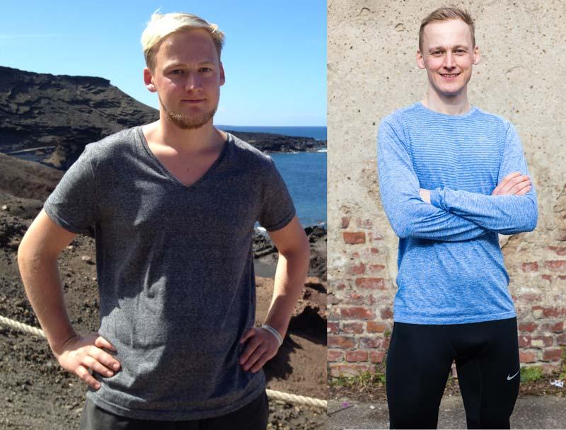 Vergleichsbilder Kevin 2013 und Kevin heute mit 12 Kilo Gewichtsunterschied