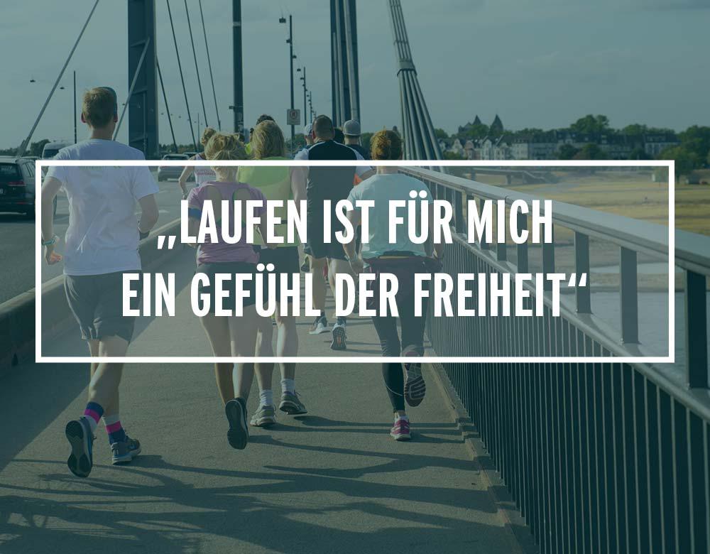 Läufer joggen über eine Brücke