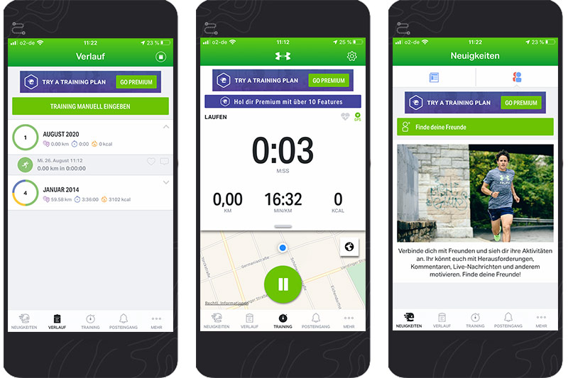 3 Screenshots der Endomondo Lauf-App