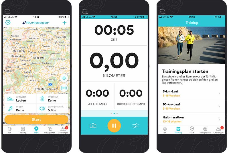 3 Screenshots der Runkeeper App