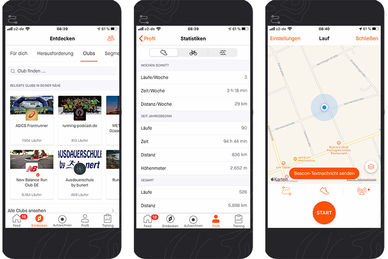 3 Screenshots der Strava App