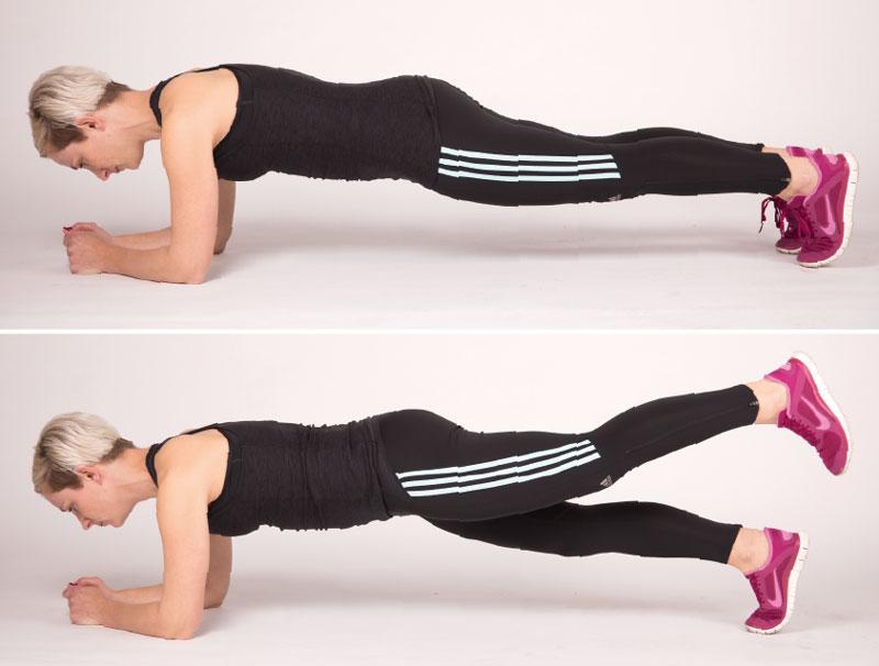 Der Plank mit Beinheber ist anspruchsvoll