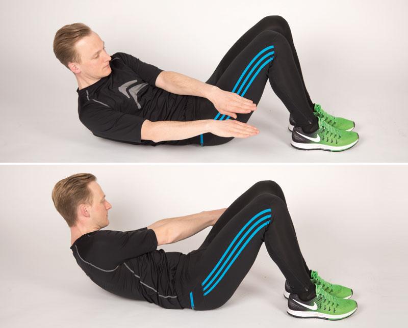 Seitliche Sit ups trainieren den Oberkörper